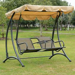 Outsunny 2 Person Outdoor Covered Patio Canopy Swing Bench C