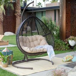 Double Resin Wicker Egg Chair w/ Stand Outdoor Hanging Patio