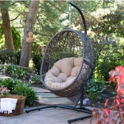 Egg Chair Front Porch Swing Wicker Big Cushion Pad Indoor Ou