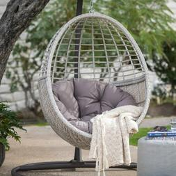 Egg Chair Hanging Wicker Resin Outdoor Porch Pool Lounger Cu