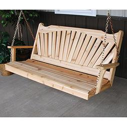 A&L Furniture Co. Fanback Red Cedar Porch Swing ...
