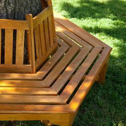 Coral Coast Fillmore Wood Outdoor Hexagonal Tree Bench All W