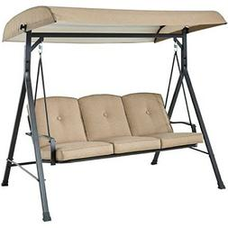 Mainstays Forest Hills 3-Seat Cushion Canopy Porch Swing, Ta
