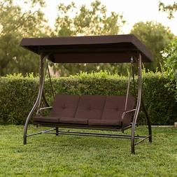 Front Porch 3-Person Swing Set Outdoor Patio Swings With Can