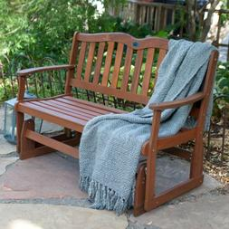 Front Porch Bench Wood Glider Outdoor Patio Furniture Garden