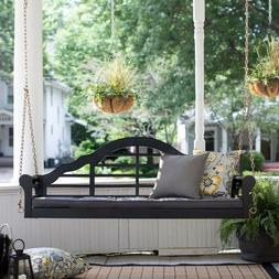 Front Porch Swing Outdoor Black  Wooden Frame Set With Cushi