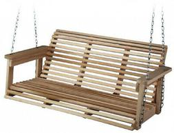 Front Porch Swing Set Outdoor Rustic Wooden Bench Wood Patio