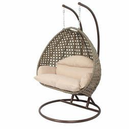 Outdoor Furniture 2 Person PE Wicker Swing Hammock Chair Han