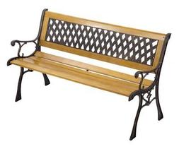 Garden Bench Patio Porch Chair Deck Hardwood Cast Iron Love