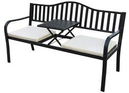 Garden Bench Table Porch Patio Balcony Deck Outdoor Black Ca