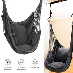 Hammock Chair Deluxe Hanging Swing Rope Porch Yard Garden Pa