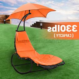 Hammock Hanging Chaise Lounger Chair with Stand Outdoor Pati