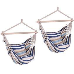 2PCS Hammock Hanging Rope Chair Porch Tree Swing Seat Patio