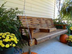 Handmade Wood Porch Swing Patio Swing Patio Furniture Bench