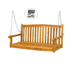 allgoodsdelight365 Outdoor Hanging Acacia Wood Porch Swing B