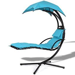 COSTWAY Hanging Arc Stand Porch Swing Hammock Chair w/Canopy