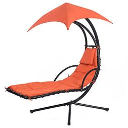 COSTWAY Hanging Chaise Lounge Chair Arc Stand Air Porch Swin