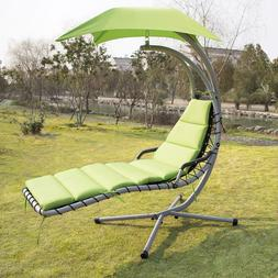 Hanging Chaise Lounge Chair Hammock Swing Canopy Green Outdo
