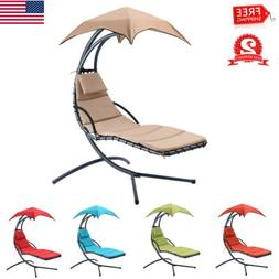 Hanging Chaise Lounger Chair Arc Stand Porch Patio Swing Ham