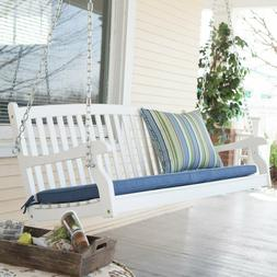 Hanging Curved Bench Swing Porch Swinging Seat Acacia White