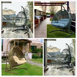 Hanging Egg Chair Outdoor Porch Garden Swing Cushion Rattan