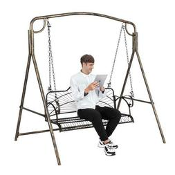 Hanging Patio Porch Swing Bench Chairs Seat Metal with Chain