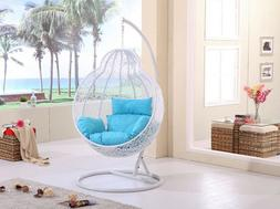 hanging rattan chair with cushion and stand