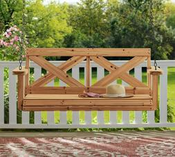 "Hanging Wooden Porch Swing 100% Cedar Wood Large 4'-7"" Wide"