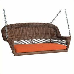 Jeco Honey Wicker Porch Swing with Orange Cushion Outdoor Gl