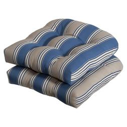 Pillow Perfect Indoor/outdoor Blue/tan Striped Wicker Seat C