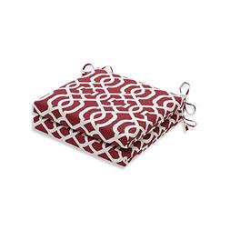 Pillow Perfect Outdoor/Indoor New Geo Red Squared Corners Se