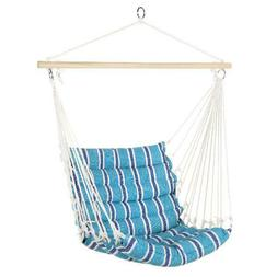 Indoor Outdoor Padded Cotton Hammock Hanging Chair w/ 40in
