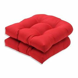 Pillow Perfect Indoor/Outdoor Red Solid Wicker Seat Cushions