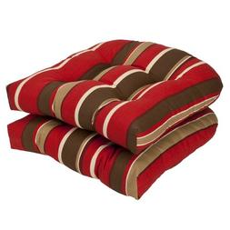 Pillow Perfect Indoor/Outdoor Striped Wicker Seat Cushions,