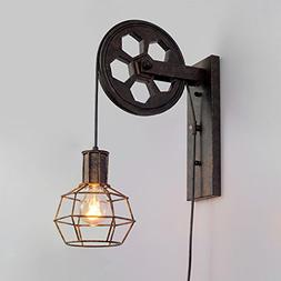 """Ruanpu Industrial Vintage Adjustable 6.3"""" Wide Wall Sconce w"""
