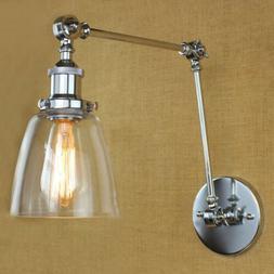 Industrial Wall Mount Light Glass Shade Retro Adjustable Swi
