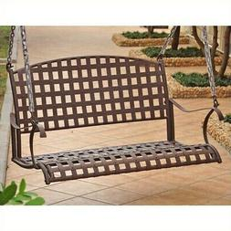 Pemberly Row Iron Hanging Patio Porch Swing in Brown