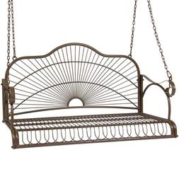 Iron Hanging Patio Porch Swing With Chain Chair Bench Seat O