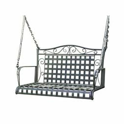 Pemberly Row Iron Patio Porch Swing in Antique Black