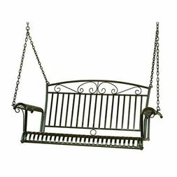 Pemberly Row Iron Patio Porch Swing in Black