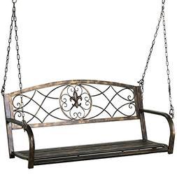 Yaheetech Iron Porch Swing Hanging Bench Chair Patio Bench O
