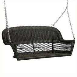Jeco Resin Wicker Porch Swing in Espresso Outdoor Glider and