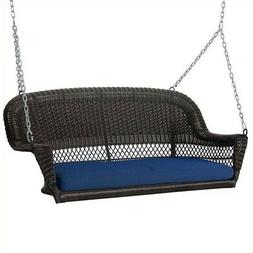 Jeco Wicker Porch Swing in Espresso with Blue Cushion Outdoo