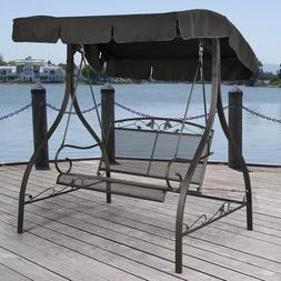 Jefferson Wrought Iron Outdoor Swing, Seats 2
