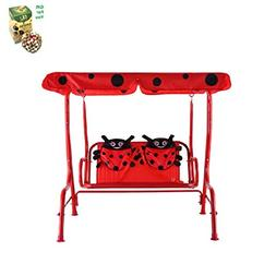 COSTWAY Kids Patio Swing Chair Children Porch Bench Canopy 2