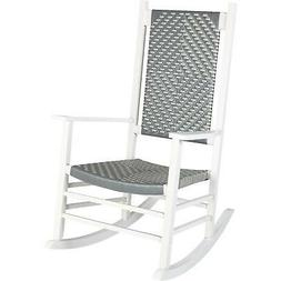 Jack Post Knollwood White Wood Woven Rocking Chair KN-2028WG