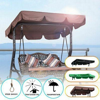 Outdoor Patio Swing Canopy 3-Person Black