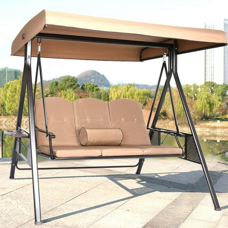 2 or 3-seat Porch Swing Hammock Bench Lounge Chair Steel Pad