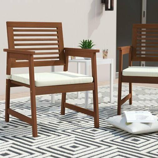 Patio Chair Set 2 Pc Garden Wood Cushion Seat Porch Furniture