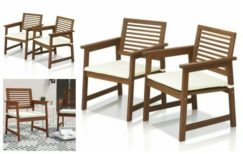 2 pc garden wood outdoor cushion seat